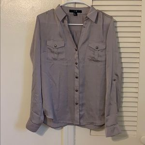 Shimmer silver button up